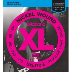 Cuerdas D´Addario p/ Bajo Electrico 5 cdas 45-130 XL