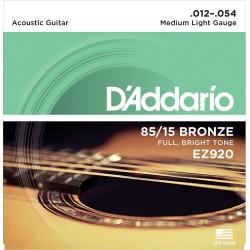 Cuerdas D´Addario 85/15 Bronze 12-54 p/ Guitarra Acústica.