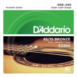 Cuerdas D´Addario 85/15 Bronze 09-45 p/ Guitarra Acústica.