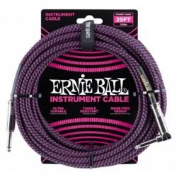 CABLE ERNIE BALL P/INSTRUMENTO NEGRO CON MORADO ANGULADO/RECTO 7.62M